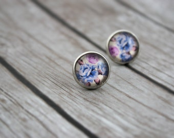 Floral Stud Earrings, Floral Earrings, Flower Pattern Earrings