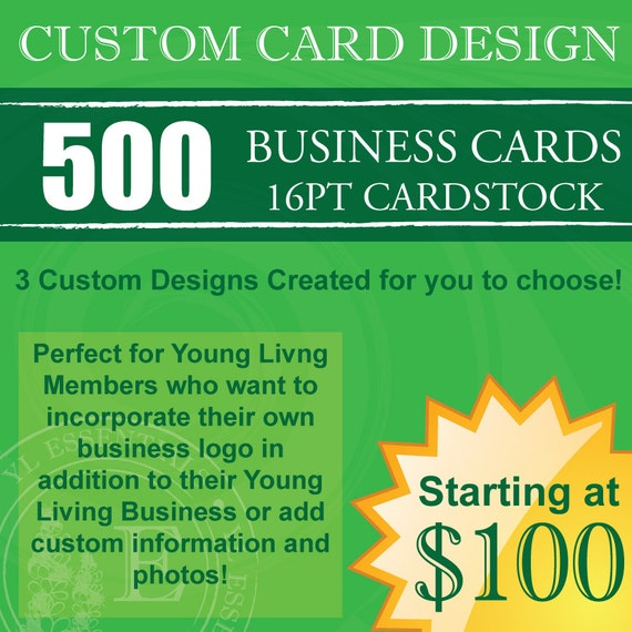 500 Young Living Business Cards Custom Design By