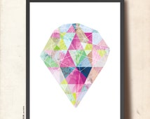 Geometric Art, Abstract Wall Art. Radiant Precious Gem Stone Poster A3. Purple, Violet, Teal, TANGRAMartworks
