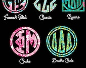 "Greek Letter Lilly Pulitzer Print Inspired Vinyl Decal Monogram - Pick Your Pattern, Sorority, Style and Size -2"", 3"", 4"", 5"""