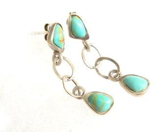 Barse Turquoise 925 Earrings Vintage Jewelry Dangle Gem  Earrings Sterling Silver Blue Turquoise Southwestern Style Jewelry
