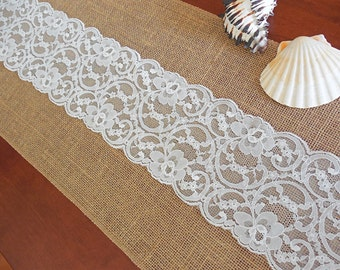 Burlap table runner wedding table runner with very pale blue lace rustic chic table decor beach wedding