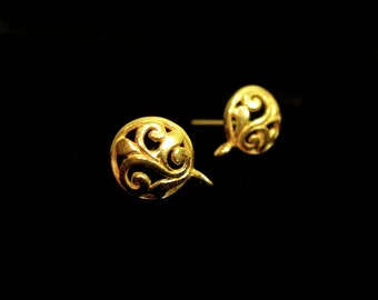 SALE Vermeil Earring Posts with Clutch 1 Pair Scroll Design EP2022