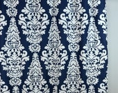 Navy Blue White Damask Berlin Curtains - Rod Pocket - 84 96 108 or 120 Long by 25 or 50 Wide - Optional Blackout or Cotton Lining