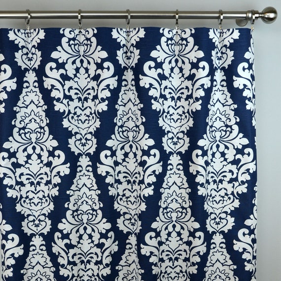 navy blue white damask berlin curtains rod pocket 84 96. Black Bedroom Furniture Sets. Home Design Ideas
