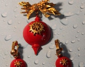 Retro Vintage Brooch with Earrings (clip on) , Red with Star Flower,