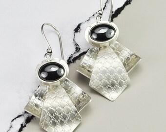 Art Deco Hematite Silver Earrings, Hematite Earrings, Sterling Silver and Hematite Earrings, Deco Style Earrings, Art Deco Hematite Earrings