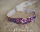newborn tieback, purple garden, headband, baby headband,  head wrap, baby head wrap
