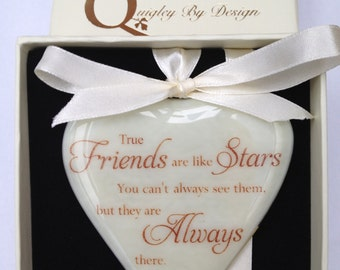 "Fused Glass Heart ""Friends are Like Stars"" Text Can be Personalised"