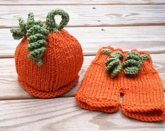 My Little Newborn Baby Pumpkin Hat and Pants Perfect for Photography Props