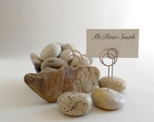 Six Ivory Colored Maine Beach Stone Wedding Dinner (or) Event Place Card Holders