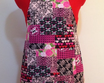 Kids Apron - Pink Skulls, Roses and Hearts Valentine Childrens Apron - Childs Apron - Kitchen Accessory