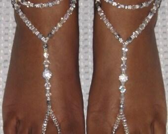 Handmade Barefoot Sandal Rhinestone Foot Jewelry Anklet