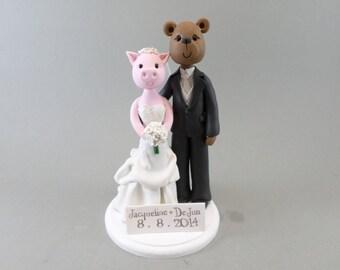 Custom Handmade Pig & Bear Wedding Cake Topper