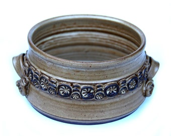 1976 Signed Pottery Bowl Floral Buttons Handles in Coil Basket Terra Cotta Glazed Vintage Home Decor Fruit Nut Dish
