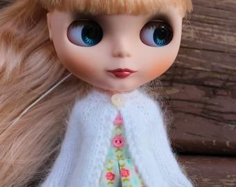 BLYTHE doll hand knit luxury angora cardigan sweater - Winter white