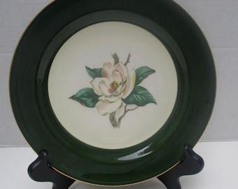 Homer Laughlin Lifetime Jade Rose RARE Luncheon Plate - 1950s