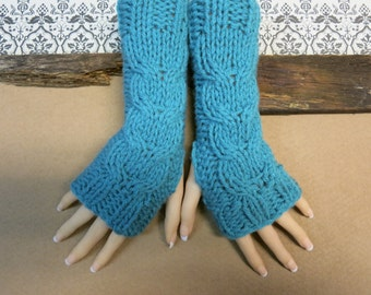 Turquoise  Fingerless Gloves, Wrist Warmers, Cabled Arm Warmers, Womens Chunky Knitted Gloves, Australia, Nchanted Gifts