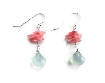 Seafoam Chalcedony Earrings, Sterling Silver Dangle Earrings, Pink Coral Sticks