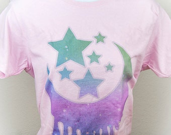 Milky Dripping Crescent Moon and Stars Graphic T Shirt Kawaii Fairy Kei Pastel Goth