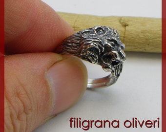 Lion's Head Ring in Silver 925