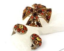 Vintage Designer Signed Regency Brooch // Regency Earrings // Fall Colors  // 1950s // Maltese Cross