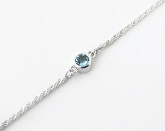 Blue topaz bracelet, birth stone bracelet in sterling silver - November or December birthstone