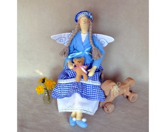 Tilda doll, Lazure Fairy, handmade interior doll, teddy, bear, blue