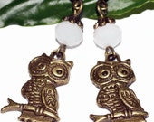 Owl charm earrings bronze owl crystal earring casual retro boho feminine affordable gift