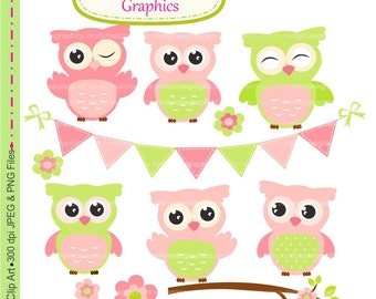 owls clip art , Digital Clip Art owls, Personal and Small Commercial Use, bunting,flowers branch,Invitations,pink,M.54
