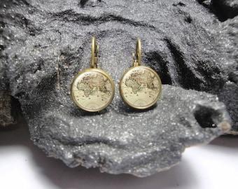 Vintage Map Earrings/12mm Earrings/ Bronze Pendant Earrings/ Map Lever Back Earrings/ Map Studs