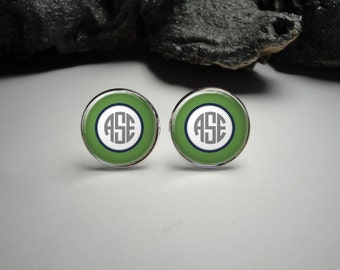 Personalized Green and White Monogram Cuff Links 20mm/Personalized Silver Cufflinks for Him/Men Gift