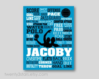 Water Polo Typography Canvas or Art Print, Boy's Room Art, Choose the Colors, Gift for Water Polo Player, Custom Polo Team or Coach Gift