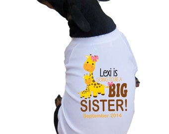 I'm Going to Be A Big Sister Dog Shirts with Cute Giraffe