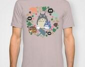 Totoro Tee Shirt T-Shirt Kawaii My Neighbor Anime Grey Manga Troll Hayao Miyazaki Studio Ghibli Gift Catbus Soot Sprite Blue White Her Him