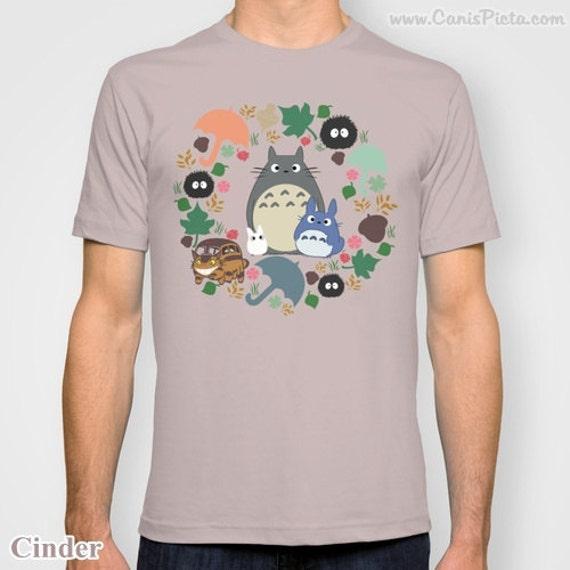 Totoro Tee Shirt T-Shirt Kawaii My Neighbor Anime Grey Manga