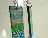 Handmade Hanji Paper Dangle Earrings OOAK Patchwork Blue Green Brown Hypoallergenic hooks Lightweight - HanjiNaty