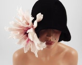 Cloche hat Flapper Hat CLOCHE Great Gatsby Felt Hat 1920s Designer Hat