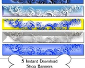 Instant Download, Etsy Shop Banner Set of 5 Shop Banners, Ready To Use, Digital Banner, Store Banner, Shop Banner, Banner