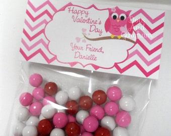 Valentine Treat Bag Topper-Owl Chevron Treat Bag Topper-Printable Kids Valentine-Owl Treat Bag Topper-Printable Valentine Owl Treat Topper