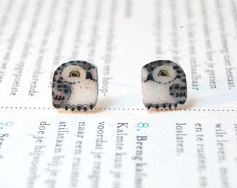 Snowy Owl Earrings, Hand drawn