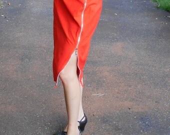 1980s Orange Esprit Zipper Skirt
