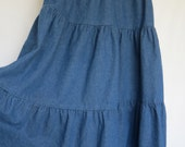 Vintage Soft Denim Three Tiered Peasant Circle Skirt Size Small / Medium