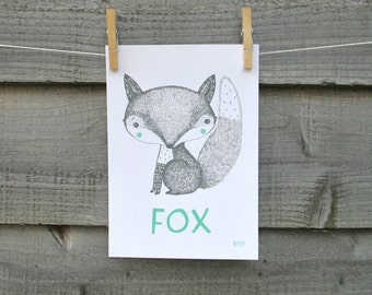 Animal print, Fox illustration with text.  Children's nursery bedroom wall art.