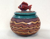 RED FISH BOWL ~ Lidded & Swimming on the Waves ~ Blue Green, Turquoise, Brown, Tan ~ Unique, Original, Whimsical ~ Ocean, Water ~ Textured