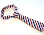Red, Blue & White Striped Neck Tie With Adjustable Strap