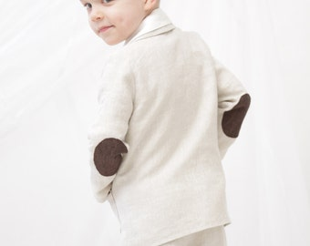 Boys blazer Ring bearer blazer Baptisms suit Boys natural linen blazer Toddler boy jacket with elbow patches Boys clothes Rustic wedding