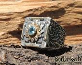 Aquamarine Mandala Ring Sapphire Ruby Sacred Ring Size 8 1/2 US