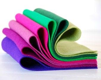 """100% Wool Felt Sheets - """"Cattleya Orchid Collection"""" - 7 Wool Felt Sheets of 8"""" x 12"""" -  Wool Felt Sheets Bundle - Pure wool felt"""
