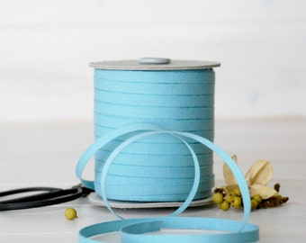 "Aqua Cotton Ribbon - 5, 20 or 109 Yards -100% Cotton from Italy -1/4"" Wide - Eco Friendly Ribbons - DIY Weddings - Aqua color Cotton Ribbon"